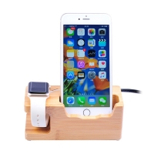 Stojánek / nabíječka pro Apple Watch a Apple iPhone - 3x USB, 5V 3A - dřevěný