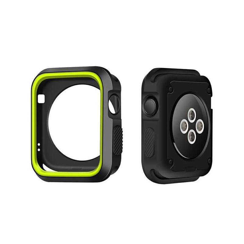 Kryt / rámeček pro Apple Watch 42mm 1 / 2 / 3 series - sportovní - silikonový - černý / zelený