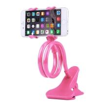 Držák / stojan pro Apple iPhone - ohebný - s klipem - plast / kov - růžový