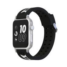 Řemínek pro Apple Watch 44mm Series 4 / 5 / 42mm 1 2 3 - sportovní - silikonový - černý / bílý