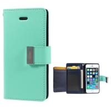 Vyklápěcí pouzdro - peněženka Mercury pro Apple iPhone 5 / 5S / SE - s prostorem pro umístění platebních karet - zeleno-modré