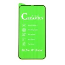 """Tvrzené sklo ceramic shield """"5D"""" pro Apple iPhone 12 mini - 2,5D - černý rámeček - čiré - 0,3mm"""