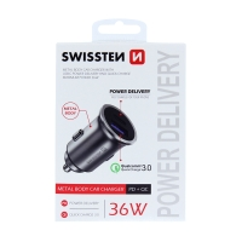 Autonabíječka / adaptér SWISSTEN - USB-A + USB-C - 36W - kovová