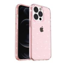 Kryt pro Apple iPhone 13 Pro Max - gumový - průsvitně růžový - se třpytkami