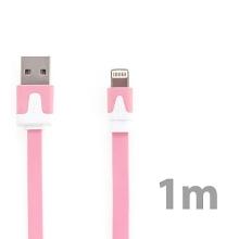 Synchronizační a nabíjecí kabel Lightning pro Apple iPhone / iPad / iPod - plochý růžový - délka 1m