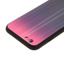 Kryt pro Apple iPhone 6 Plus/ 6S Plus - barevný přechod a lesklý efekt - gumový / skleněný - růžový / černý
