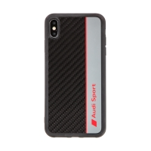 Kryt AUDI Sport pro Apple iPhone Xs Max - karbon / černý + červený nápis