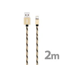 Synchronizační a nabíjecí kabel XO - Lightning pro Apple zařízení - tkanička - zlatý / černý - 2m
