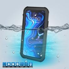 Voděodolné plasto-silikonové pouzdro pro Apple iPhone Xr - černo-průhledné