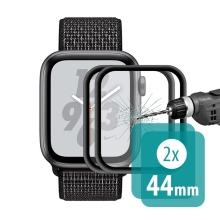 Tvrzené sklo (Tempered Glass) ENKAY pro Apple Watch 44mm Series 4 / 5 / 6 / SE - 3D okraj - černé / čiré - 2 kusy