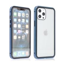 Kryt pro Apple iPhone 12 / 12 Pro - magnetické uchycení - sklo / kov - 360° ochrana - průhledný / modrý
