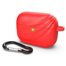 Pouzdro DEVIA pro Apple Airpods Pro - vlnka - silikonové - červené