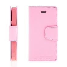 Vyklápěcí pouzdro Mercury Sonata Diary pro Apple iPhone 5 / 5S / SE se stojánkem a prostorem na osobní doklady - světle růžové