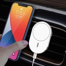 Držák do auta + bezdrátová nabíječka MagSafe kompatibilní - do ventilační mřížky - 360° - oválný - bílý