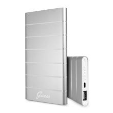 Externí baterie / power bank GUESS - 5000 mAh - 2,1A výstup - hliníková - stříbrná