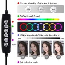 LED světlo PULUZ 30cm - kruhové - dálkové ovládání + stativ 120 cm - na streamování - 360° otočné
