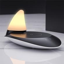 Bezdrátová Qi nabíječka + stolní lampička - USB-C - jednorožec - různé barvy světla - bílá