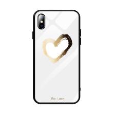 "Kryt pro Apple iPhone Xs Max - srdce ""For Love"" - guma / sklo - černý / bílý"