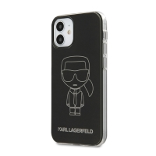 Kryt KARL LAGERFELD Metalic Iconic pro Apple iPhone 12 mini - plastový / gumový - černý