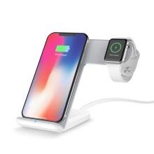 Stojánek / bezdrátová nabíječka Qi 2v1 - Apple iPhone / AirPods s Qi + Watch - pevný - bílý