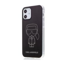 Kryt KARL LAGERFELD Metalic Iconic pro Apple iPhone 12 / 12 Pro - plastový / gumový - černý