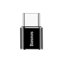 Přepojka / redukce BASEUS - Micro USB samice na USB-C samec - kovová - černá