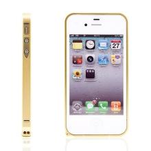 Ochranný ultra tenký hliníkový rámeček / bumper LOVE MEI (tl. 0,7 mm) pro Apple iPhone 4 / 4S - zlatý