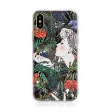 Kryt pro Apple iPhone X / Xs - guma / plast - žena a květiny