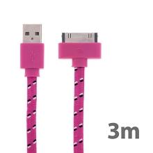 Synchronizační a nabíjecí kabel s 30pin konektorem pro Apple iPhone / iPad / iPod - tkanička - plochý růžový - 3m