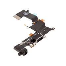 Napájecí a datový konektor s flex kabelem + audio konektor jack pro Apple iPhone 5S - černý