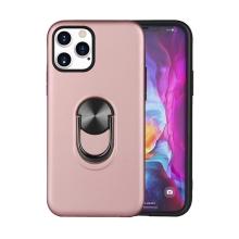 Kryt pro Apple iPhone 12 / 12 Pro - prsten / stojánek - plastový / gumový - růžový
