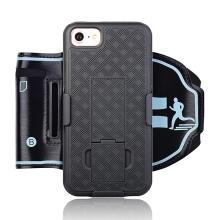 Sportovní pouzdro pro Apple iPhone 7 / 8 / SE (2020) - černé s reflexním pruhem
