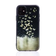 Kryt pro Apple iPhone 11 - gumový - černý - roj motýlů