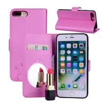 Pouzdro pro Apple iPhone 7 Plus / 8 Plus - stojánek a zrcátko -  květiny a motýli - růžové