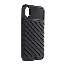 Kryt FORCELL Thunder pro Apple iPhone Xr - šikmé pruhy - gumový - černý