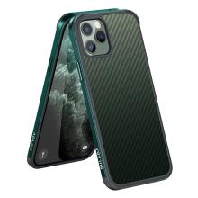 Kryt SULADA pro Apple iPhone 11 Pro - gumový / kovový - karbonová textura - průhledný - tmavě zelený