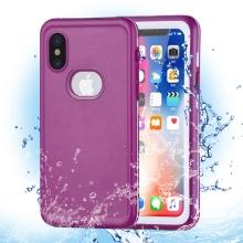 Pouzdro pro Apple iPhone X - voděodolné - plast / silikon - růžové / bílé