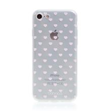 Kryt BABACO pro Apple iPhone 7 / 8 / SE (2020) - gumový - srdíčka - průhledný