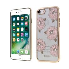 Kryt KAVARO pro Apple iPhone 7 / 8 / SE (2020) - plastový - ibišky a kamínky - zlatý / průhledný