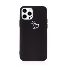 Kryt pro Apple iPhone 12 / 12 Pro - srdce - gumový - černý