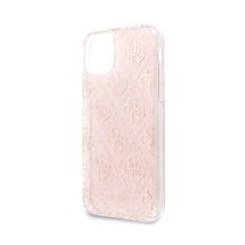 Kryt GUESS 4G Glitter pro Apple iPhone 11 - gumový - růžový
