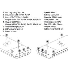 Externí baterie / power bank SWISSTEN All-in-one - podpora bezdrátového nabíjení Qi - 10000 mAh - černá / bílá