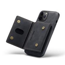 Kryt DG.MING pro Apple iPhone 13 Pro - stojánek + odnímatelná peněženka - umělá kůže - černý