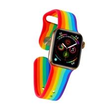 Řemínek pro Apple Watch 44mm Series 4 / 5 / 6 / SE / 42mm 1 / 2 / 3 - velikost S / M - silikonový - duhový