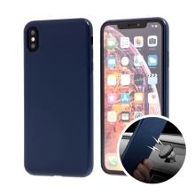 Kryt SULADA pro Apple iPhone Xs Max - gumový s magnetickým držákem - tmavě modrý