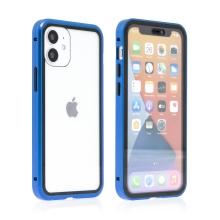 Kryt pro Apple iPhone 12 mini - magnetické uchycení - sklo / kov - 360° ochrana - průhledný / modrý