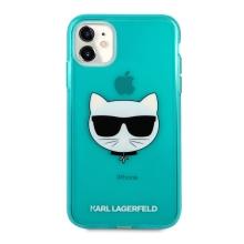 Kryt KARL LAGERFELD Choupette pro Apple iPhone 11 - gumový - modrý - třpytky