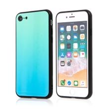 Kryt pro Apple iPhone 7 / 8 / SE (2020) - barevný přechod a lesklý efekt - gumový / skleněný - zelený / modrý