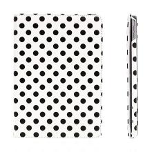 Pouzdro pro Apple iPad Air 2 s 360° otočným stojánkem - bílé s černými puntíky