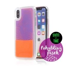 Kryt TACTICAL Glow pro Apple iPhone X / Xs - pohyblivý svíticí písek - plastový - oranžový / fialový